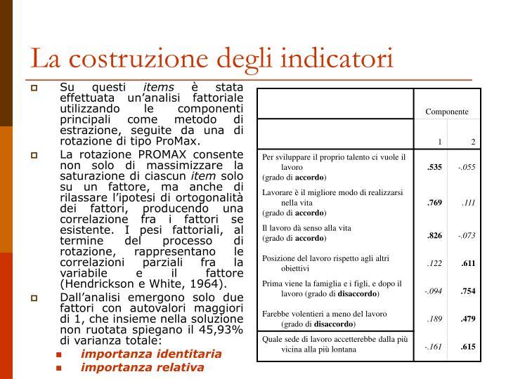La costruzione degli indicatori