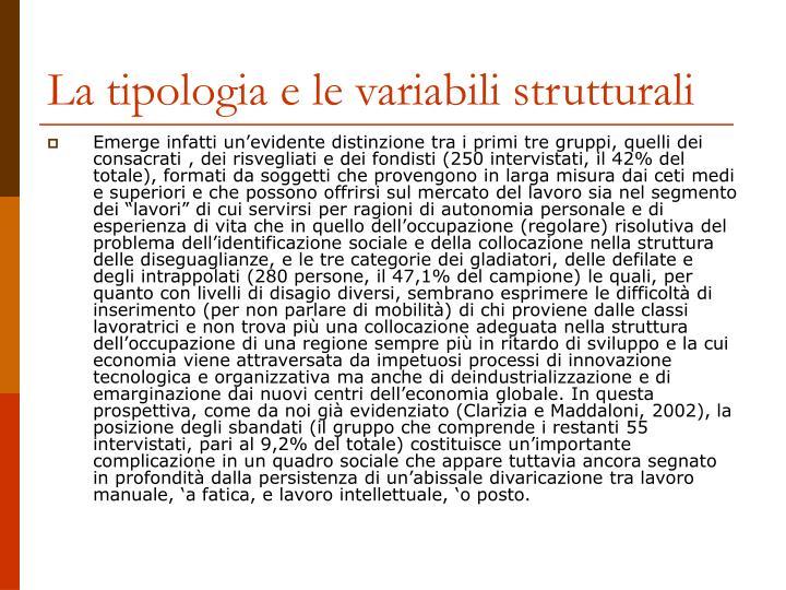 La tipologia e le variabili strutturali