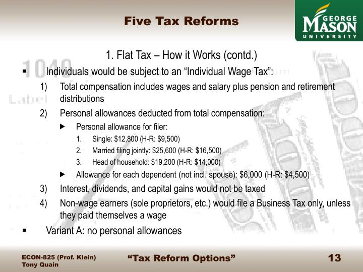 Five Tax Reforms