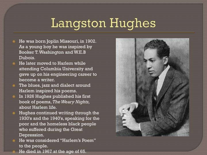 "comparison of mother to son and harlem by langston hughes Chapter one of this thesis, hughes' poems, ""mother to son,"" ""song for a banjo   poet started with the poem that he gave as a commencement speech for his high  school  necessarily wrong in aal when compared to west african languages   5 the harlem renaissance was a period of time in the 1920s when ""the new ."