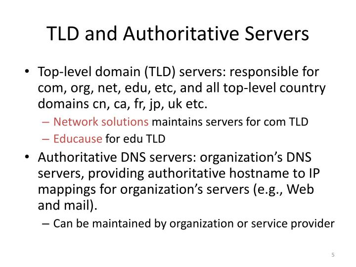 TLD and Authoritative Servers
