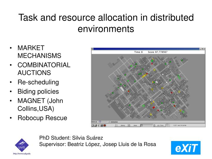Task and resource allocation in distributed environments