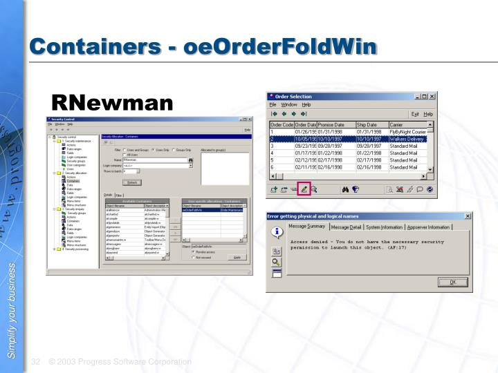 Containers - oeOrderFoldWin