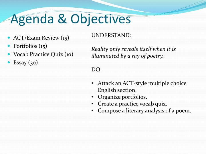 Agenda & Objectives