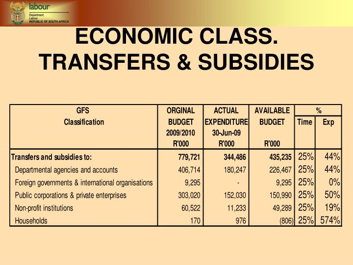 ECONOMIC CLASS. TRANSFERS & SUBSIDIES