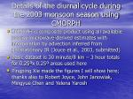details of the diurnal cycle during the 2003 monsoon season using cmorph