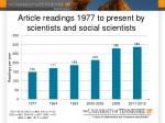 article readings 1977 to present by scientists and social s cientists