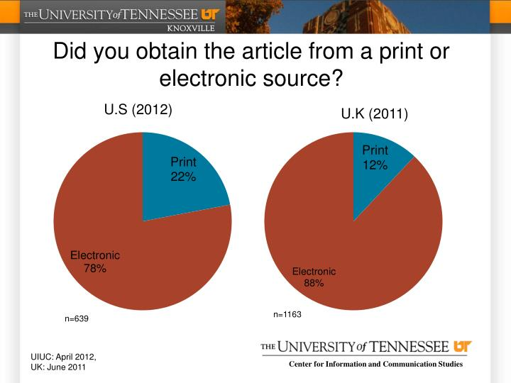 Did you obtain the article from a print or electronic source?
