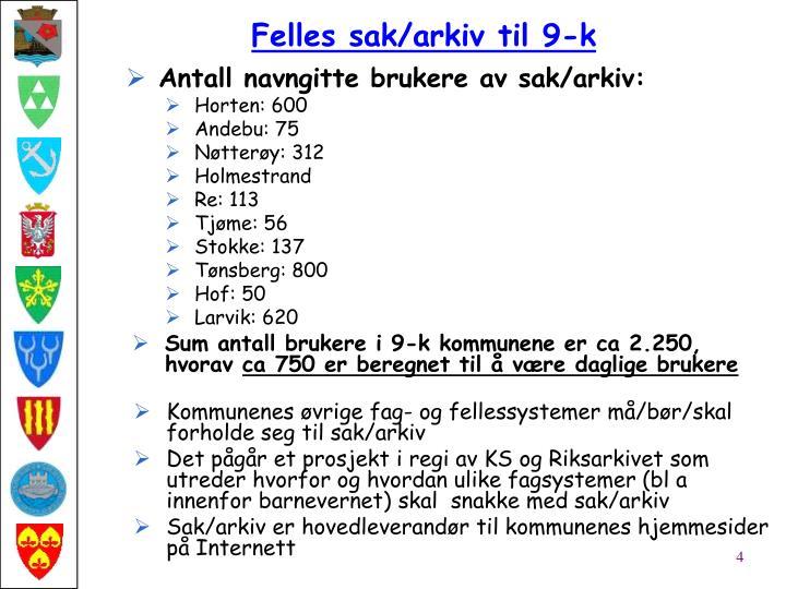 Antall navngitte brukere av sak/arkiv: