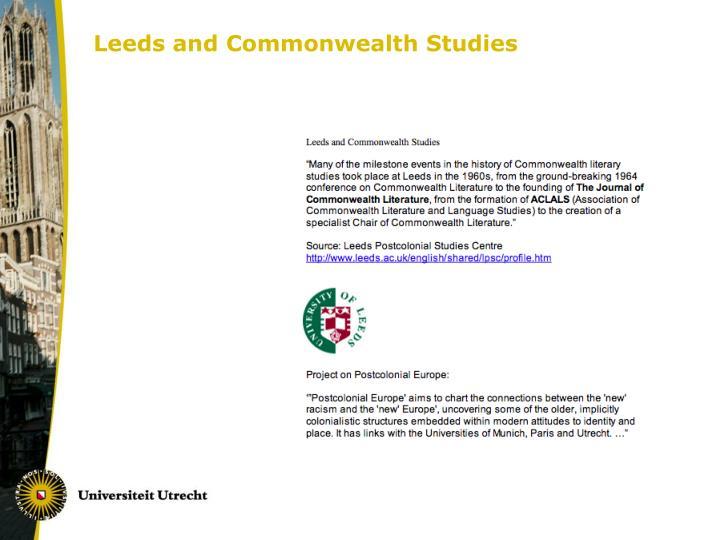 Leeds and Commonwealth Studies
