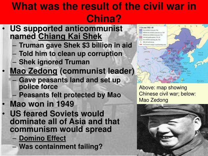 What was the result of the civil war in China?