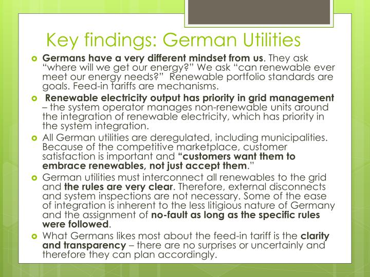 Key findings: German Utilities