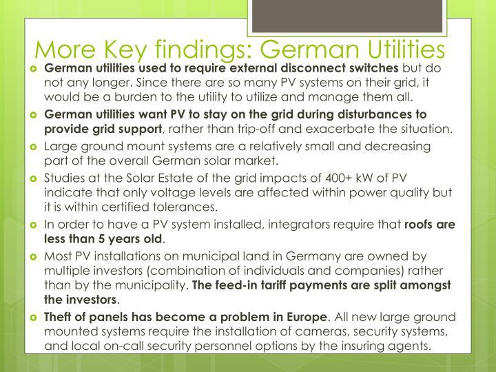 More Key findings: German Utilities