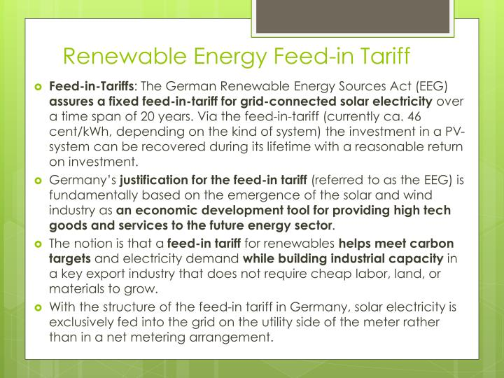Renewable Energy Feed-in Tariff