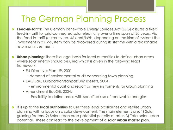 The German Planning Process
