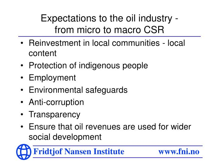 Expectations to the oil industry -