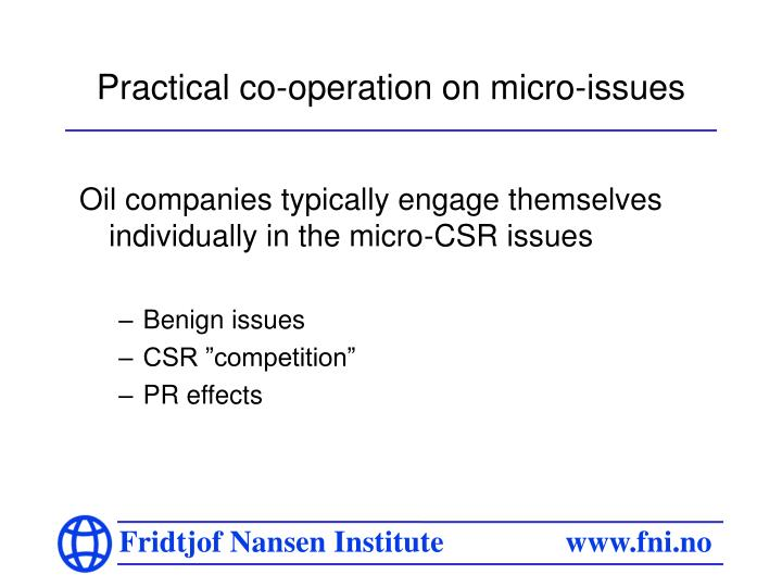 Practical co-operation on micro-issues