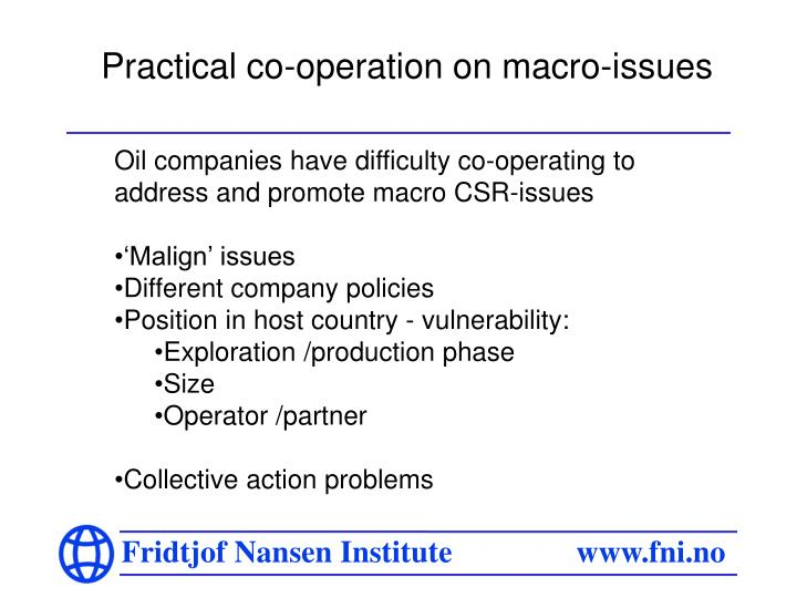 Practical co-operation on macro-issues