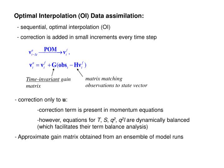 Optimal Interpolation (OI) Data assimilation: