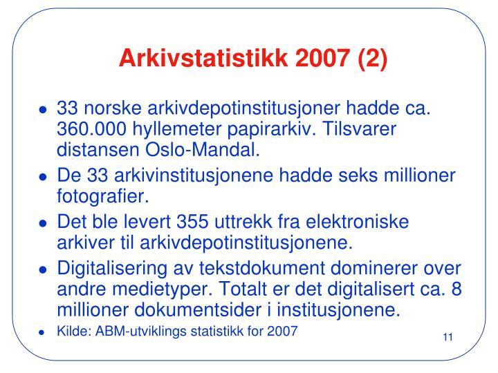 Arkivstatistikk 2007 (2)