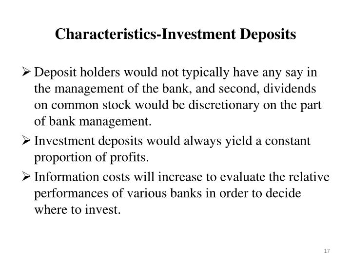 Characteristics-Investment Deposits