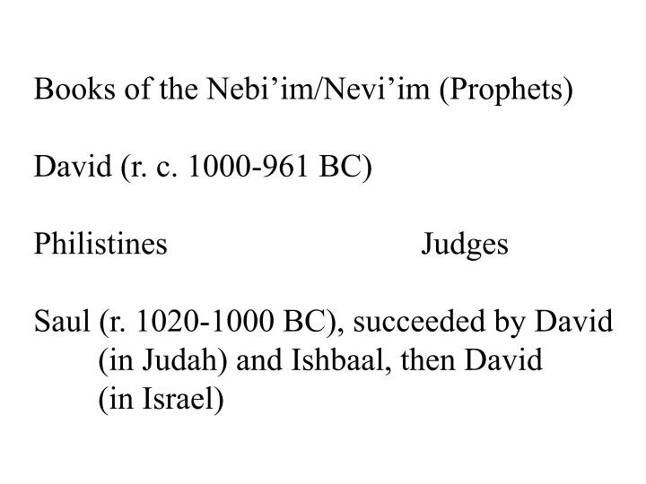 Books of the Nebi'im/Nevi'im (Prophets)