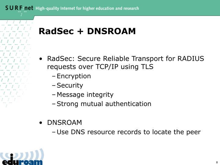 RadSec + DNSROAM