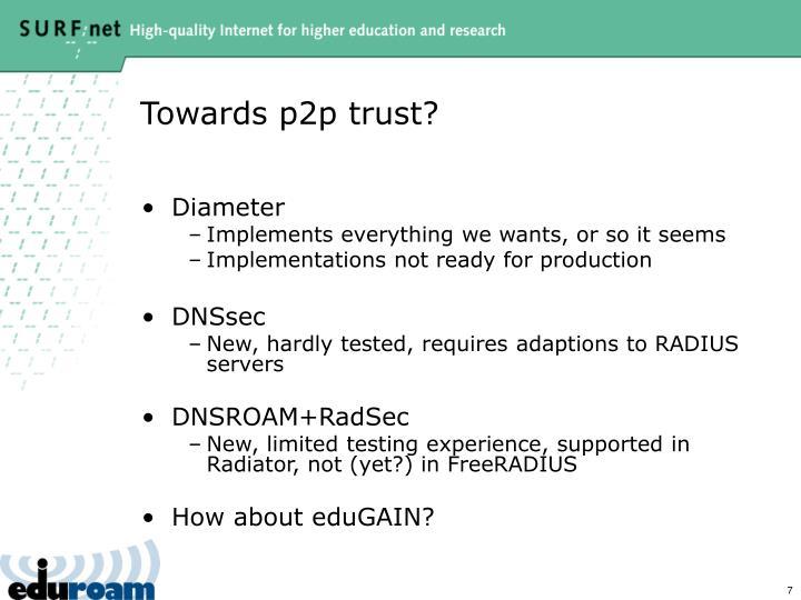 Towards p2p trust?