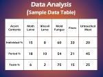 data analysis sample data table
