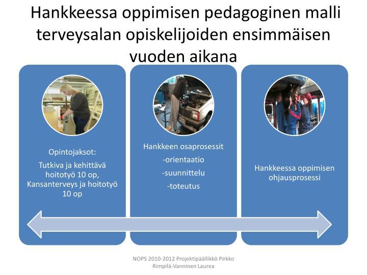 Hankkeessa oppimisen pedagoginen malli terveysalan opiskelijoiden ensimmäisen vuoden aikana