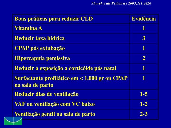 Sharek e als Pediatrics 2003;111:e426