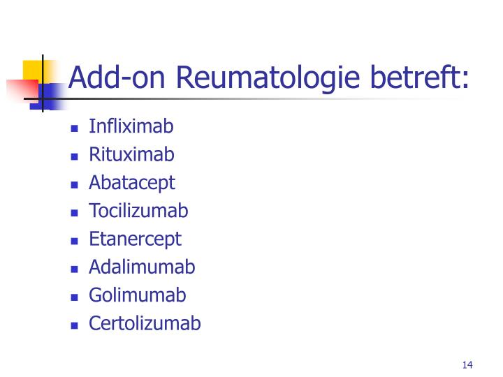Add-on Reumatologie betreft: