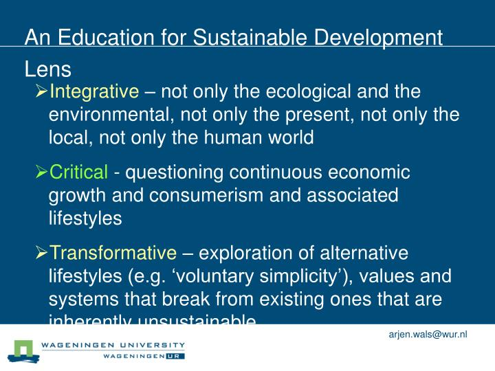 An Education for Sustainable Development Lens