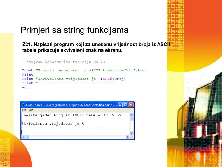 Primjeri sa string funkcijama