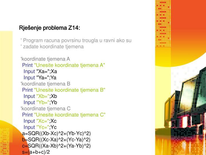 Rješenje problema Z14: