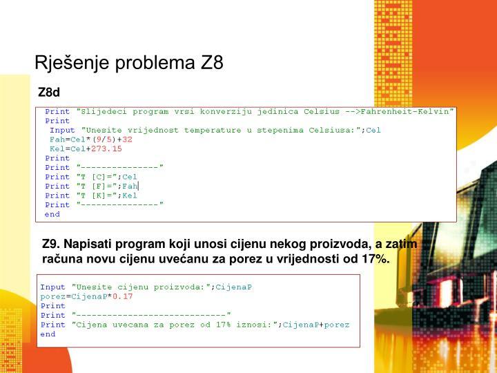 Rješenje problema Z8