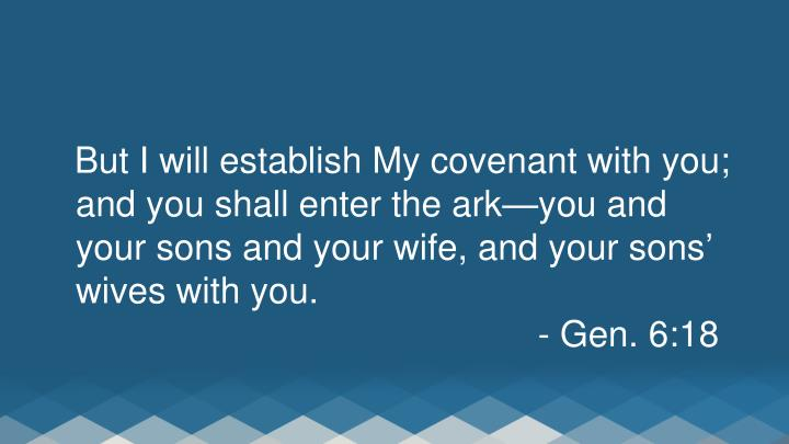 But I will establish My covenant with you; and you shall enter the ark—you and your sons and your wife, and your sons