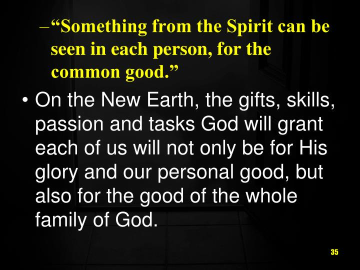 """Something from the Spirit can be seen in each person, for the common good."""