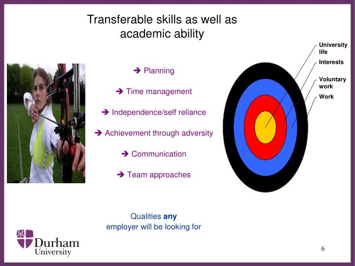 Transferable skills as well as academic ability