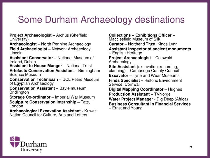 Some Durham Archaeology destinations