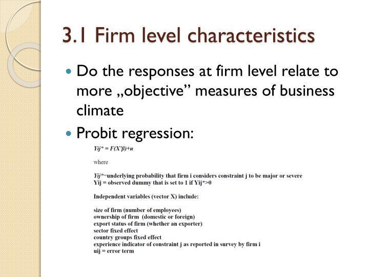3.1 Firm level characteristics