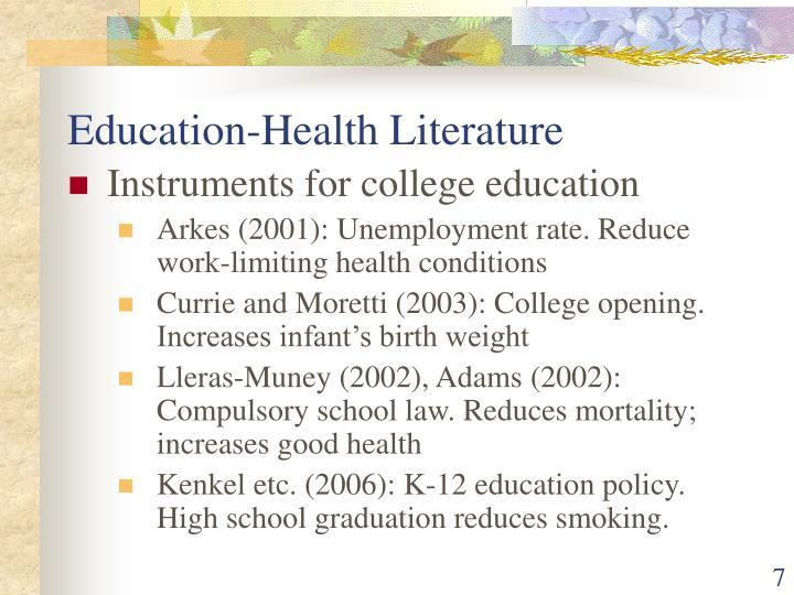 Education-Health Literature