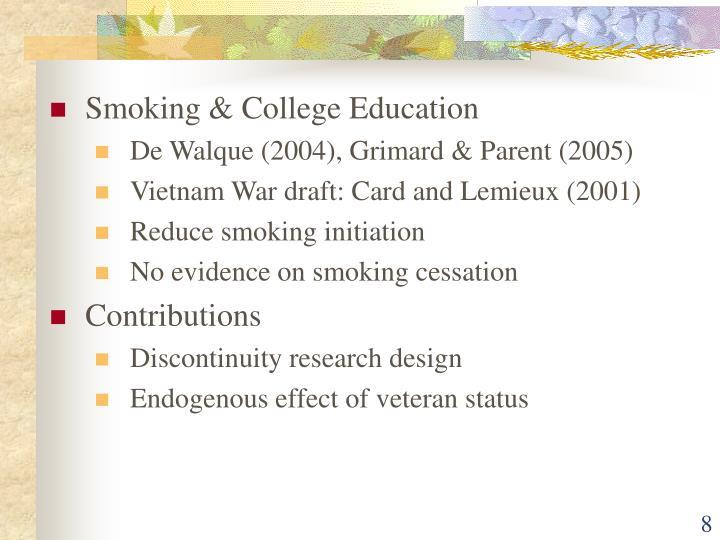 Smoking & College Education