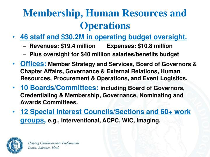 Membership, Human Resources and Operations