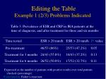 editing the table example 1 2 3 problems indicated