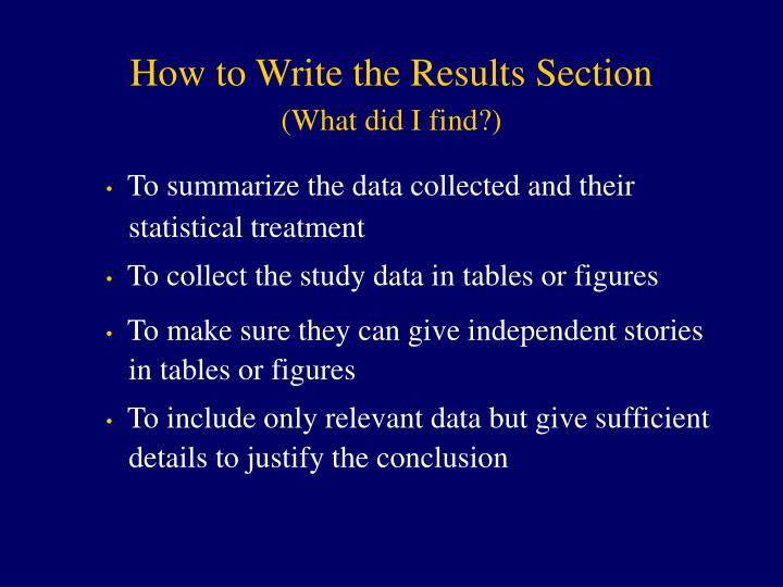 How to Write the Results Section