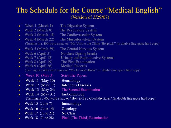 "The Schedule for the Course ""Medical English"""