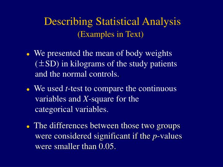 Describing Statistical Analysis