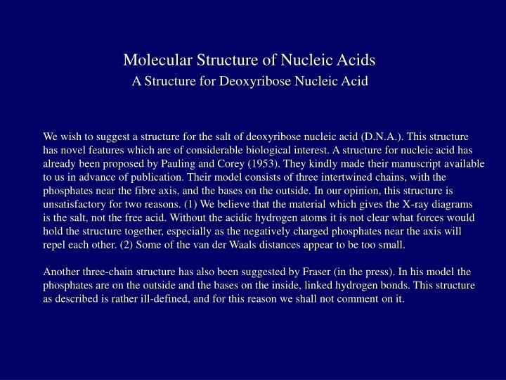 Molecular Structure of Nucleic Acids