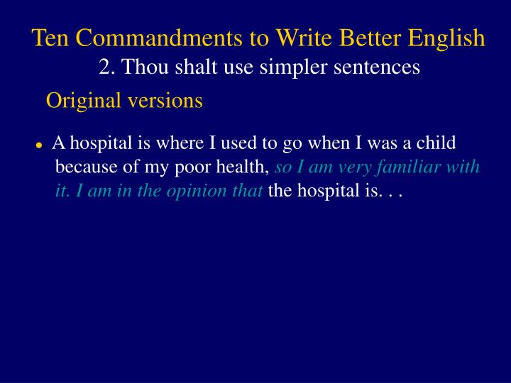 Ten Commandments to Write Better English